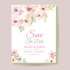 Watercolor floral wedding card. Wedding invitation cards with watercolor blooming flowers, save the date card.