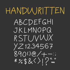 Handwritten alphabet, Capital Letters with Symbols. Vector for design.