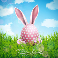 Vector Illustration of Happy Easter Holiday with Rabbit Ears, Painted Egg and Flower on Nature Grass Background. International Celebration Design with Typography for Greeting Card, Party Invitation or