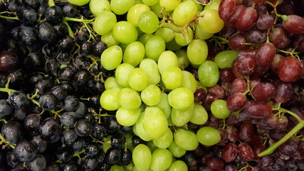 Three difference color of grape