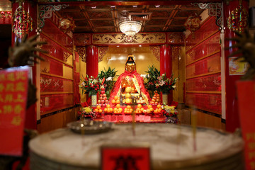 An altar is pictured at Mahayana Buddhist Temple on Chinese Lunar New Year of the Dog in Manhattan's Chinatown in New York