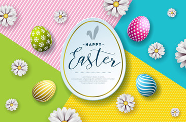 Vector Illustration of Happy Easter Holiday with Painted Egg and Flower on Abstract Background. International Celebration Design with Typography for Greeting Card, Party Invitation or Promo Banner.