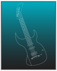 Guitar on a turquoise