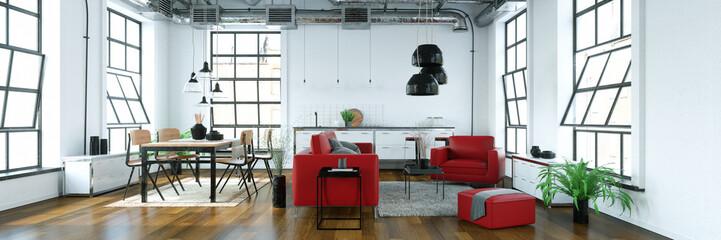 Loft mit Wohnküche und Sofa und Essbereich