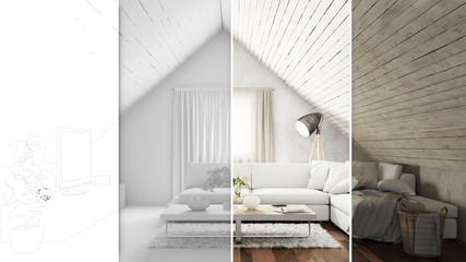 CAD Planung von Wohnzimmer im Dachgeschoss