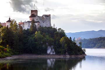 view of the famous castle niedzica at the  Poland