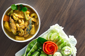 Thai curry fish paunch sour soup (Kang Tai Pla) spicy delicious mix with herb popular Thai food