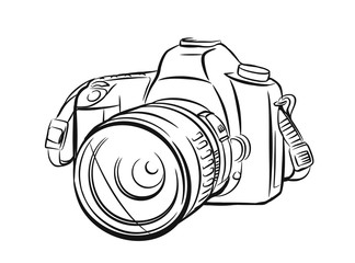 Modern camera in outline style.