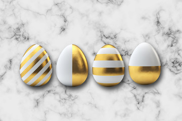 Gold pattern easter eggs on a marble background. 3D Rendering