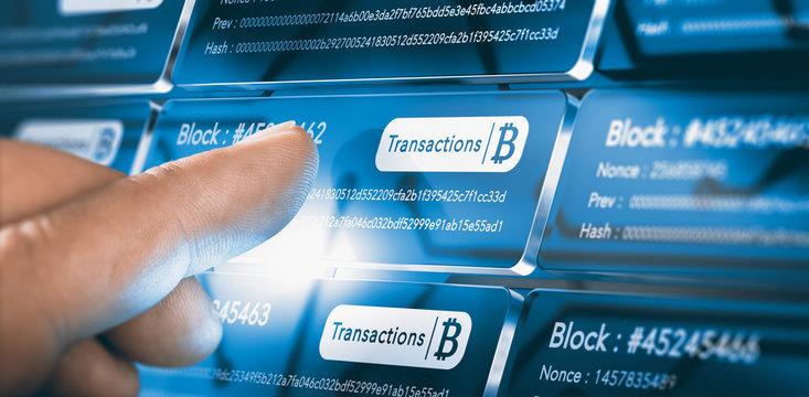Blockchain Technology. Bitcoin Transfer