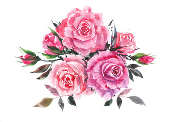 Pink rose. Decorative bouquet with roses. Watercolor background.