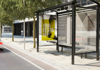 Bus Stop Advertising Kiosk Mockup on City Street 3