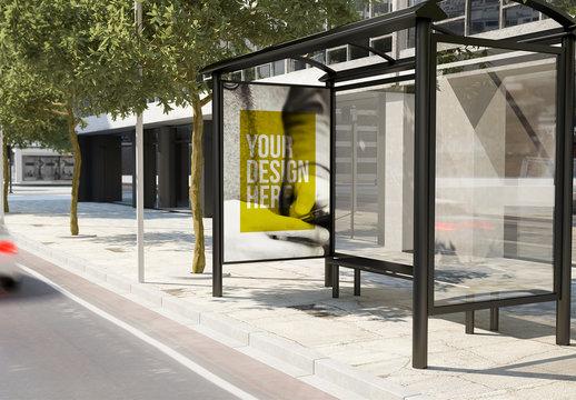 Bus Stop Advertising Kiosk Mockup on City Street 3