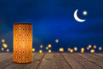 orientalische lampe im mondschein