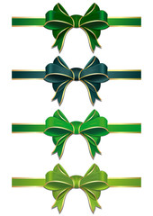Set of green bows isolated on white. Vector scalable green ribbons with bows. Green ribbons in different shades isolated on white background. Green ribbons with bows to St. Patricks Day or Easter
