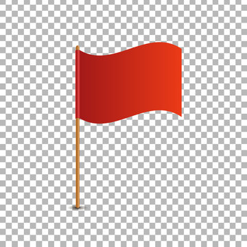 Vector realistic isolated red flag for decoration and covering on the transparent background. Concept of pointer, tag and important sign.