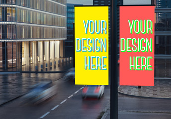 2 Lamppost Banners Mockup 2