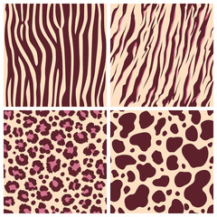 Print set safari jungle animal fur stripe animals bengal tiger giraffe zebra texture pattern seamless repeating white black orange brown