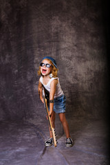 Rock girl with guitar