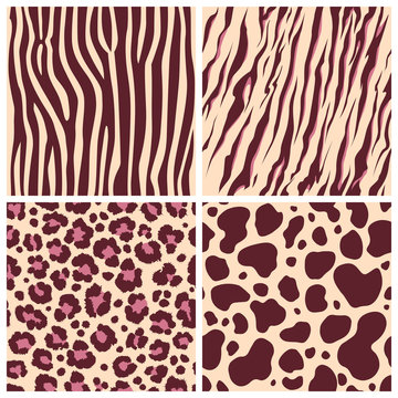 Print set safari jungle animal fur stripe animals bengal tiger giraffe zebra texture pattern seamless repeating white black orange brown
