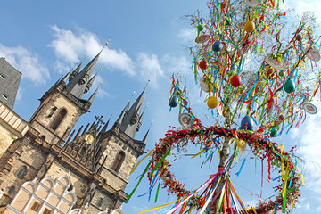 Easter Tree at the Old Town Square in Prague. Easter market, Czech republic.
