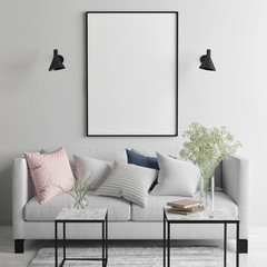Mock up poster in Scandinavian living room, your art work here, 3d render, 3d illustration