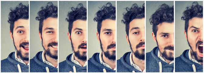 Man changing mood expressing different emotions