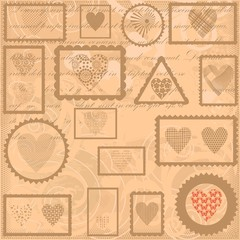 Vintage background with post stamps