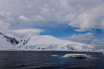 Antarctic landscape with glacier and mountains