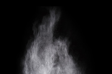 White powder on black background.