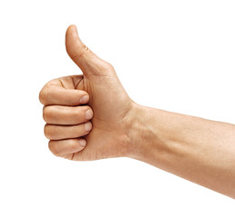 Man's hand showing thumb up - like sign, isolated on white background. Close up. Positive concept. High resolution product.