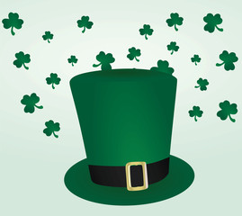 St.Patrick day card. Green hat and leafs. vector illustration