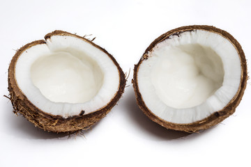 Broken coconut isolated