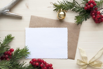 Natural Wood Christmas Background double Paper Mockup