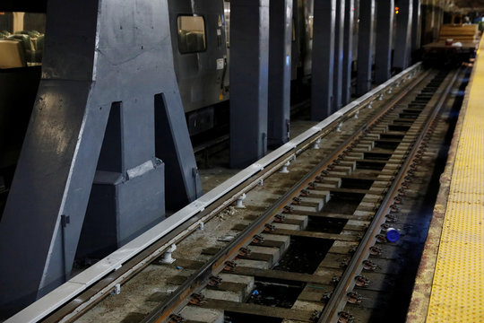 Track 15 of the Long Island Railroad is seen under construction at Penn Station in New York