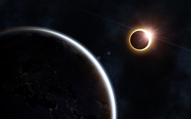 Solar eclipse. Earth and moon. Beautiful space landscape. Image in 5K resolution for desktop wallpaper. Elements of the image are furnished by NASA