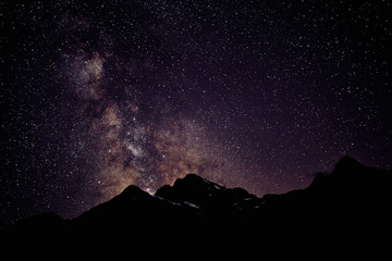 Milky Way Over A Mountain