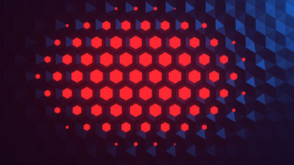 Background of tiled blue hexagon extruded to different lengths with red illumination. Parametric Design. Abstract technology luminous honeycombs. Retro futuristic neon hexagons wallpaper. 3d rendering
