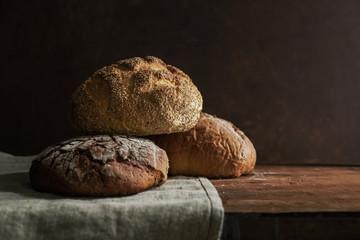 Rustic bread loaves