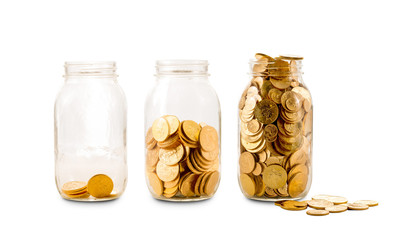 Many gold coins in three glass bottles