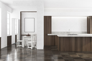 White kitchen, wooden countertops, poster