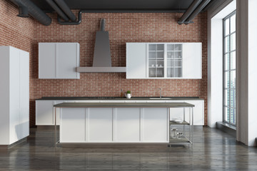 Brick kitchen, white countertops