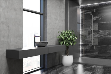 Gray modern bathroom corner