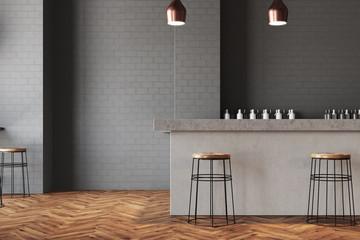 Gray wall bar and cafe interior