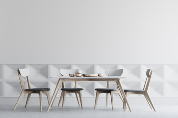 White dining room interior, wooden chairs
