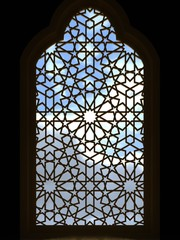Islamic design the doors of the mosque with the traditional pattern. Greeting background for Ramadan Kareem. 3D rendering.