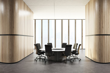 Loft meeting room interior, round table