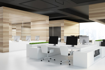 Open space office corner, white floor