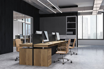 Black wall open space office corner