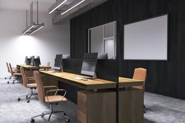 Black wall open space office corner, whiteboard
